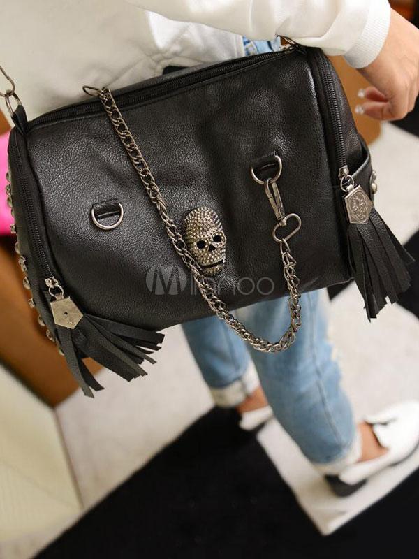 Buy Gothic Lolita Bags Chains Skull Rivets Black Lolita Barrel Bags for $34.99 in Milanoo store