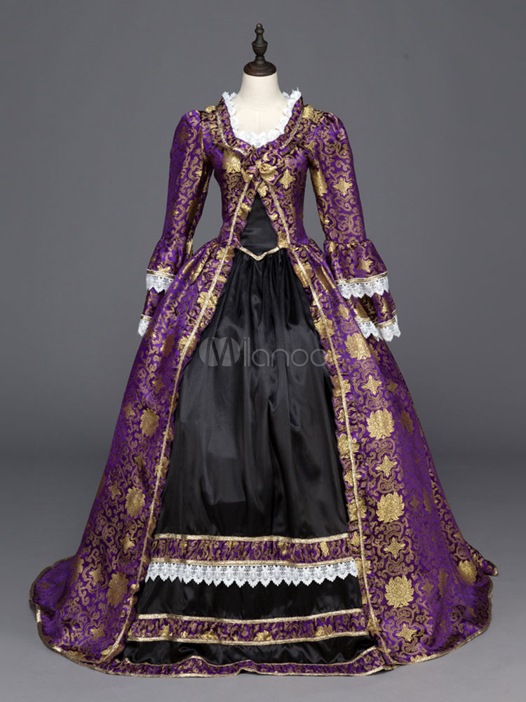 e778d375ef66 Gothic Vintage Costume Purple Lace Trim Long Sleeve Royal Masquerade Dresses  Halloween-No.1 ...