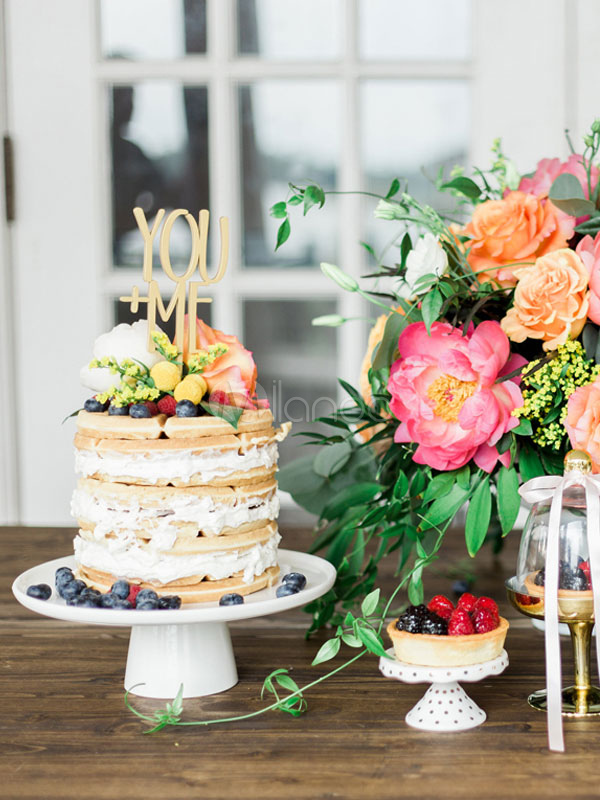 Matrimonio Tema Primavera : Decoración de pastel de madera dorada tema de tradición estilo
