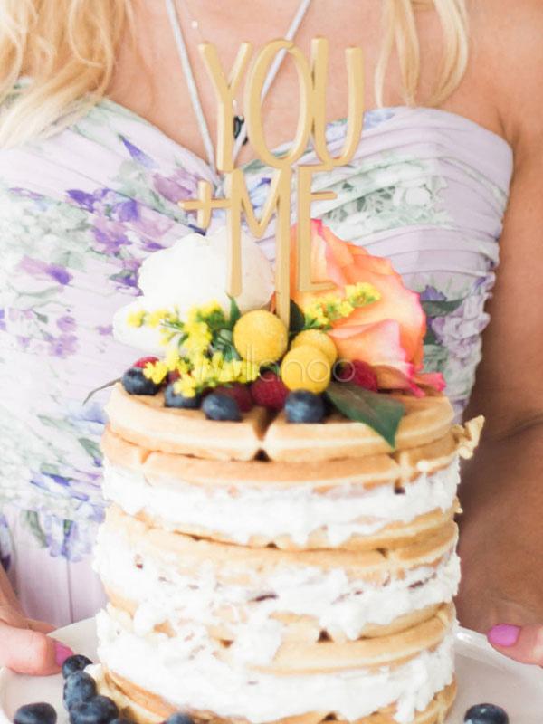 Personalisierte Hochzeitstorte Topper Holz In Golden Im Klassischen