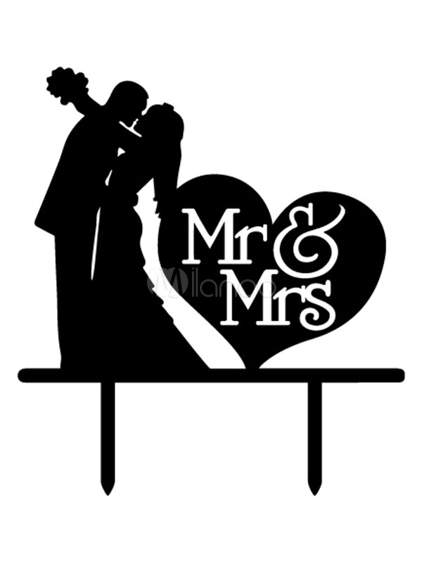 Buy Wedding Cake Toppers Mr And Mrs Black Heart Wedding Decorations for $6.92 in Milanoo store