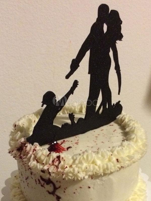 Wedding Cake Toppers Black Acrylic Gothic Wedding Decorations