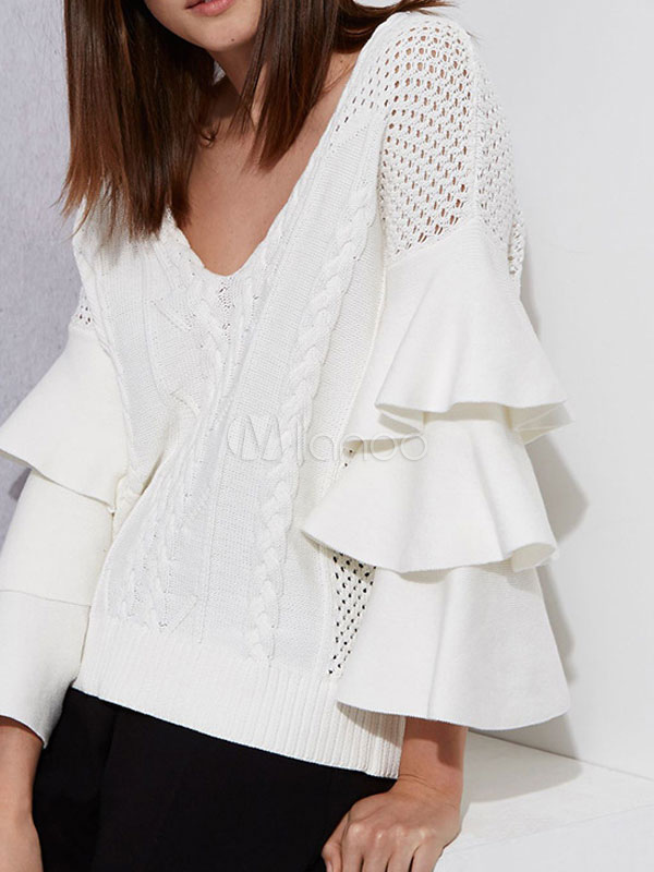 Buy Ivory Pullover Sweater V Neck Bell Sleeve Layered Ruffles Women's Sweater for $37.99 in Milanoo store