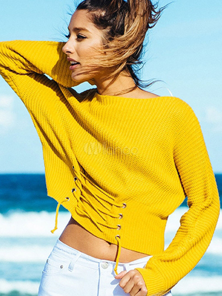 Buy Yellow Pullover Sweater Round Neck Long Sleeve Lace Up Women's Sweater for $27.19 in Milanoo store