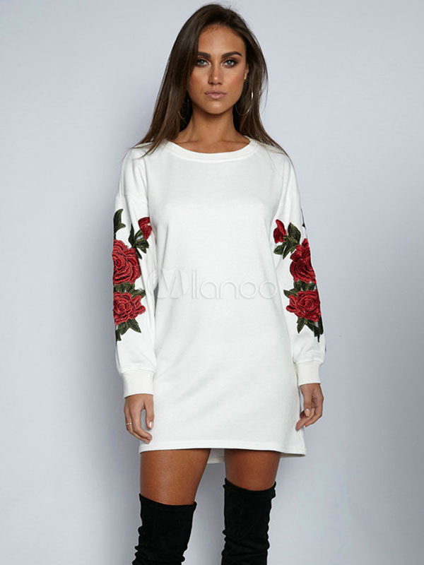 Buy White Shift Dress Round Neck Long Sleeve Peony Embroidered Sweatshirt Dresses For Women for $24.79 in Milanoo store