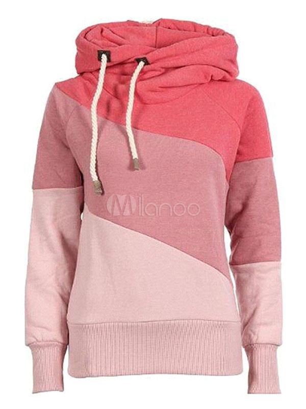 Women Pink Hoodie Long Sleeve Color Block Hooded Drawstring Pullover Women Casual Hoodie