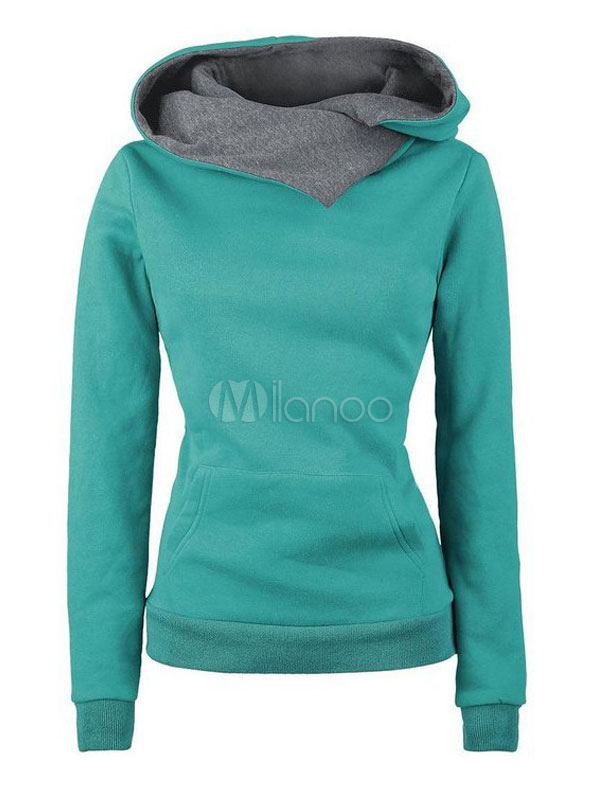 Green Pullover Hoodies Hooded Long Sleeve Two Tone Sweatshirt For Women Cheap clothes, free shipping worldwide