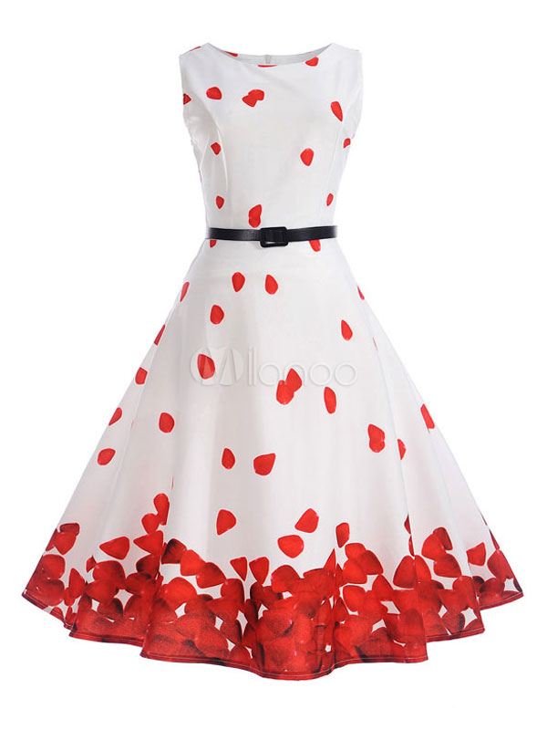 Women Vintage Dress Floral Round Neck Sleeveless Skater Dress