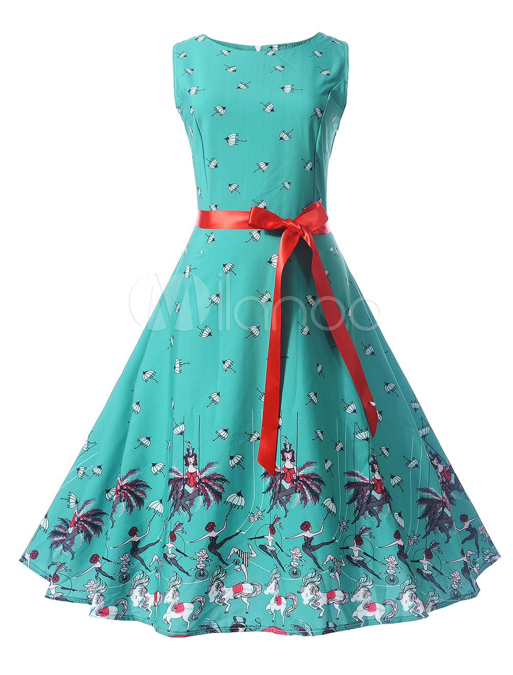 Green Vintage Dress Round Neck Sleeveless Floral Print Women's Summer Dresses