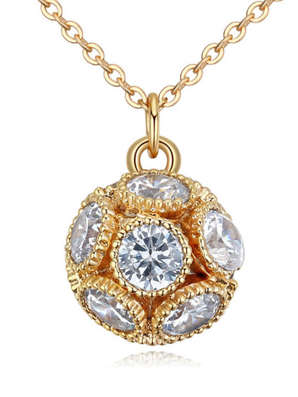 Buy Gold Pendant Necklace Round Brilliant Cubic Zirconia Women's Chic Necklace for $8.99 in Milanoo store