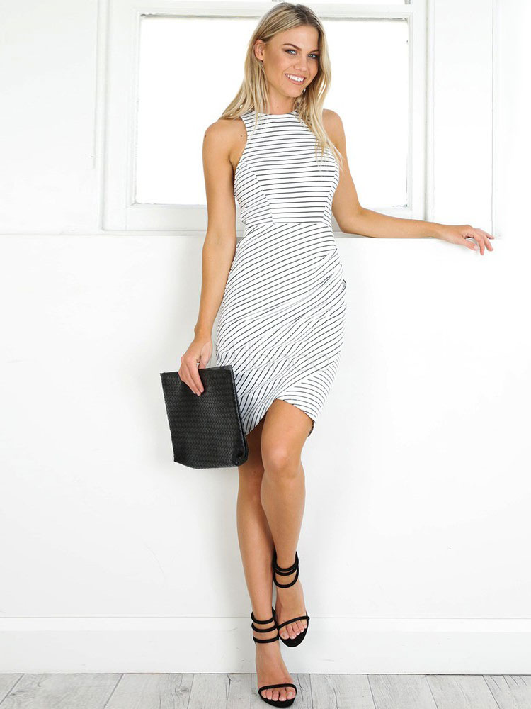 Buy White Bodycon Dress Round Neck Sleeveless Striped Asymmetrical Ruched Short Dresses For Women for $22.49 in Milanoo store