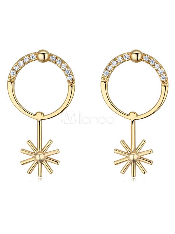 Buy Gold Pierced Earrings Round Rhinestones Women's Chic Earrings for $8.49 in Milanoo store