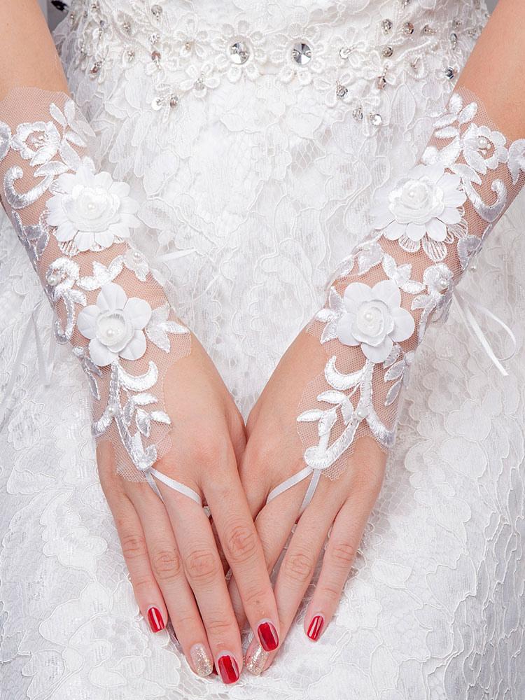 Ivory Wedding Gloves Lace Short Fingerless Pearls 3D Flowers Bridal Gloves