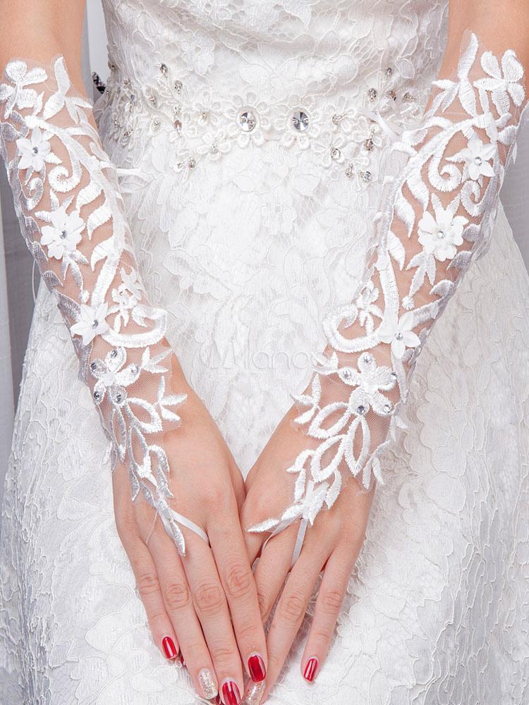 Ivory Wedding Gloves Lace Tulle Elbow Length Fingerless