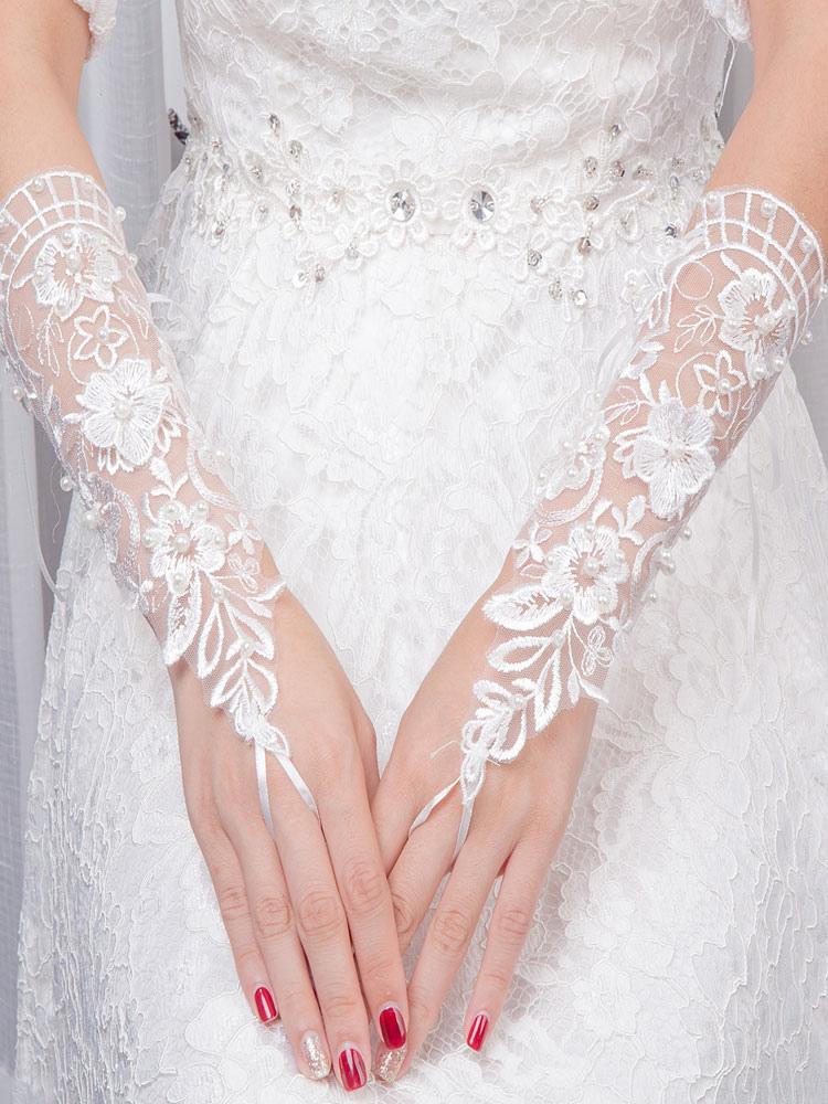 Ivory Wedding Gloves Lace Tulle Wrist Length Fingerless Pearls Flowers Bridal Gloves