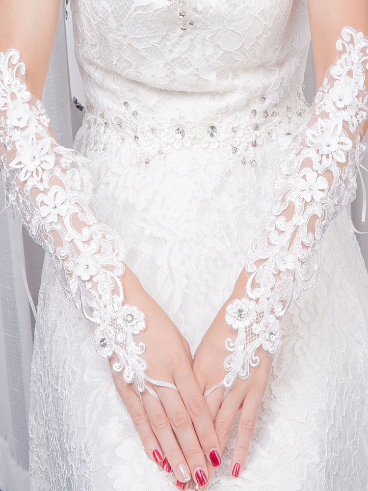 Fingerless Wedding Gloves Lace Flowers Applique Beading Elbow Length Ribbons Ivory Bridal Gloves