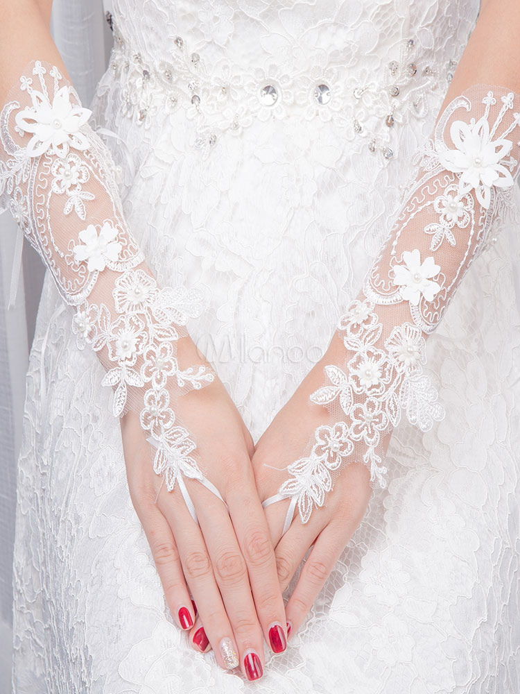 Fingerless Wedding Gloves Lace 3D Flowers Wrist Length Pearls Beading Bridal Gloves