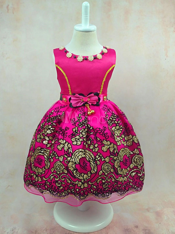 Buy Toddler's Pageant Dress Rose Round Neck Sleeveless Bows Printed Knee Length Tu Tu Dresses for $23.74 in Milanoo store