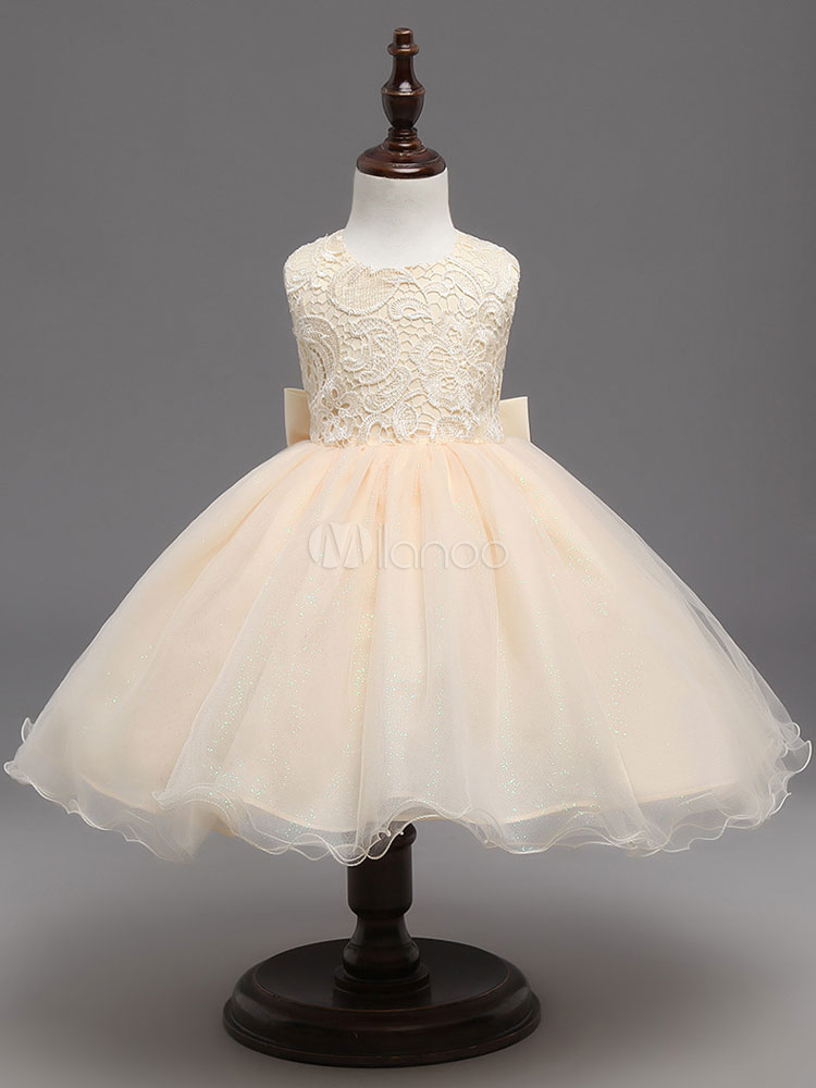 a765bd040 Champagne Flower Girl Dresses Tutu Kids Formal Dresses Keyhole Lace Bows  Tulle Princess Dinner Party Dresses ...