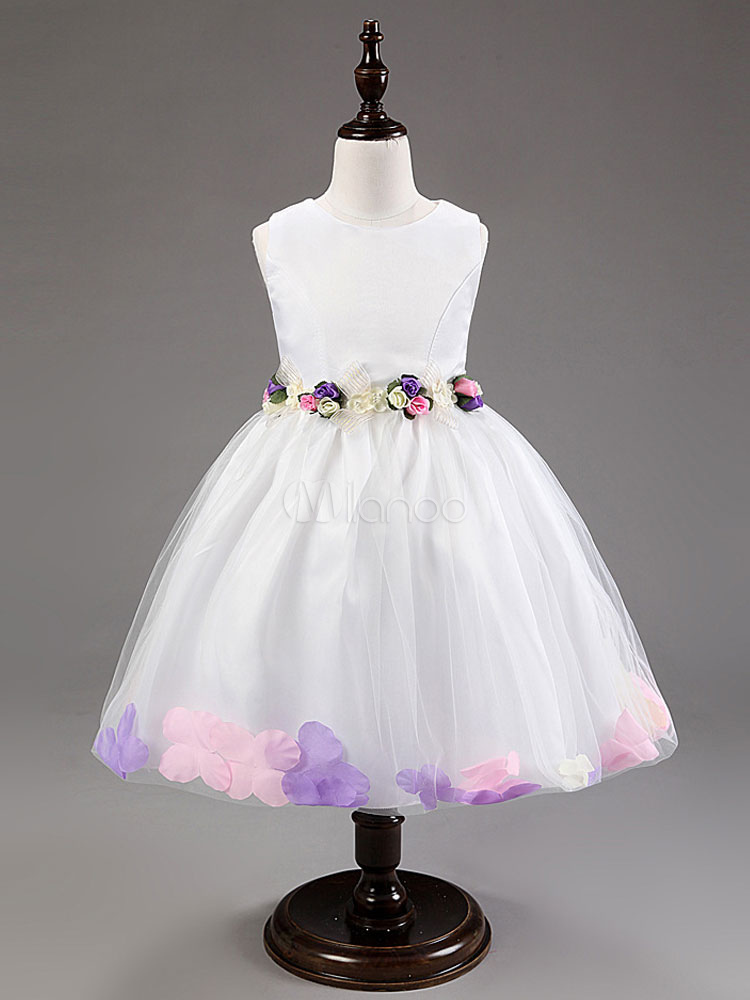 Weiße Blume Mädchen Kleider Tutu Prinzen Festzug Kleid Kinder Perlen ...