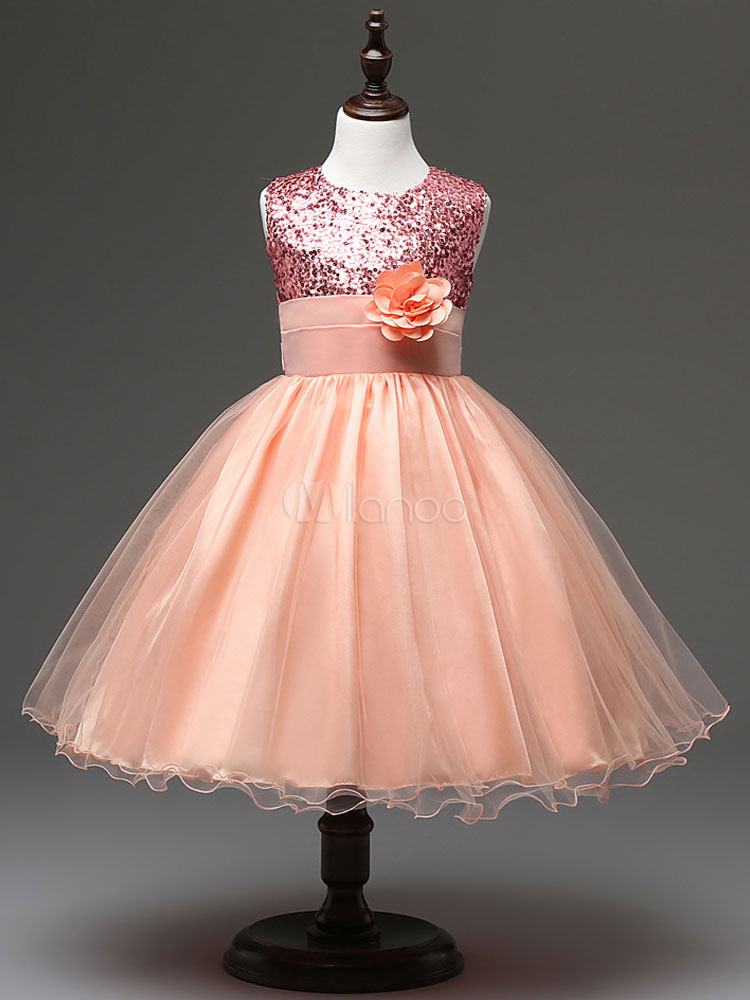 6e0dcc30f4b Flower Girl Dresses Rose Gold Tutu Sequin Princess Pageant Dress Kids Short  Social Party Dresses- ...