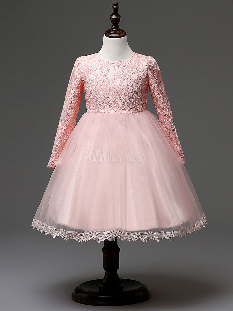 Buy Flower Girl Dresses Pink High Waist Lace Long Sleeve Princess Tutu Dress Tulle Knee Length Dinner Party Dress for $26.59 in Milanoo store