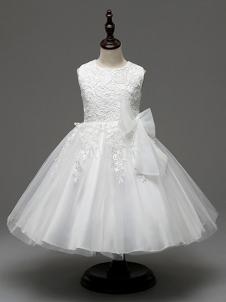 Buy White Flower Girl Dresses Lace Applique Tutu Dress Bows Decor Knee Length Formal Dinner Party Dresses for $23.79 in Milanoo store