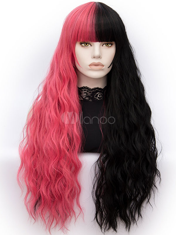 ... Halloween Hair Wigs Carnival Hair Wigs Women Long Crimp Curly Color  Block Tousled High Quality Synthetic ... 8afa20b86e