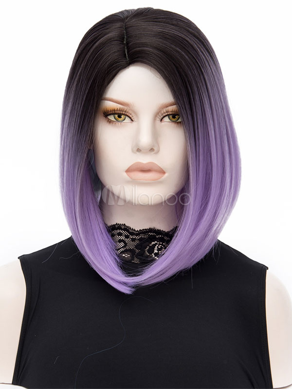 Short Carnival Wigs Highlighting Lavender Ombre Layered Women's Straight Holiday Wigs Cheap clothes, free shipping worldwide