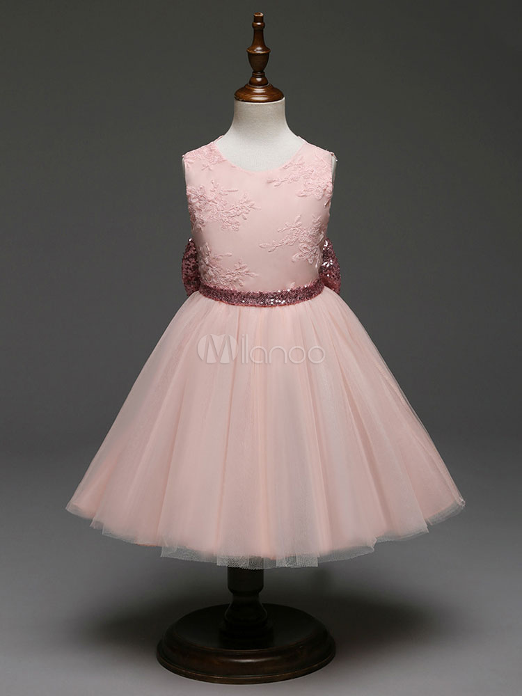 3f0f6b8a3a Blush Pink Flower Girl Dresses Princess Tutu Kids Pageant Dress Backless  Sequin Bows Tulle Formal Party Dresses
