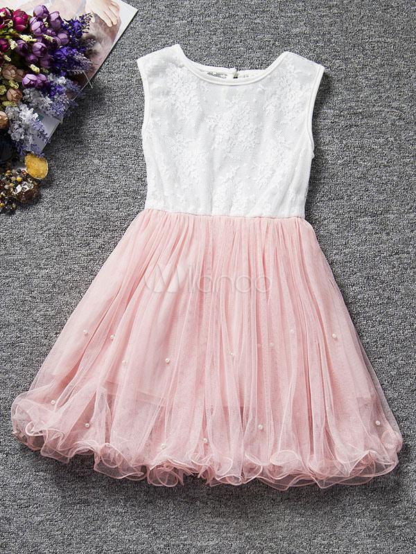 Buy Flower Girl Dresses Tutu Blush Pink Kids Short Dinner Dress A Line Beading Party Dresses for $15.99 in Milanoo store
