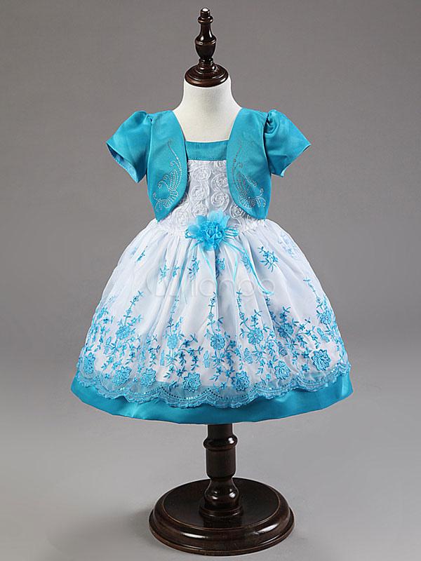 Flower Girl Dresses Blue Lace Round Neck Short Sleeve Bows Flowers Knee Length Tu Tu Dress