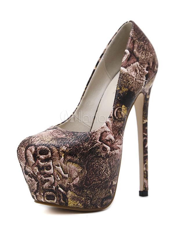 Zapatos de plataforma de PU marrón con estampado estilo moderno dgGvUFI