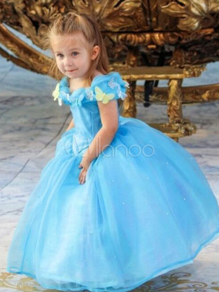 Buy Kids' Halloween Costume Blue Tulle Sequined Princess Tu Tu Dress Halloween for $14.99 in Milanoo store
