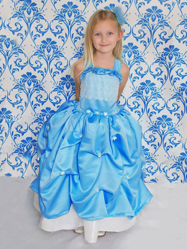 Kids' Halloween Costume Blue Sleeveless Sequined Pleated Long Dress For Girls Halloween
