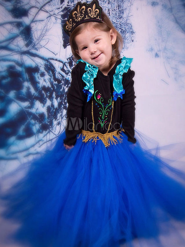 Buy Kids' Halloween Costume Blue Long Sleeve Embroidered Fringe Ruffles Tu Tu Dress Halloween for $13.49 in Milanoo store