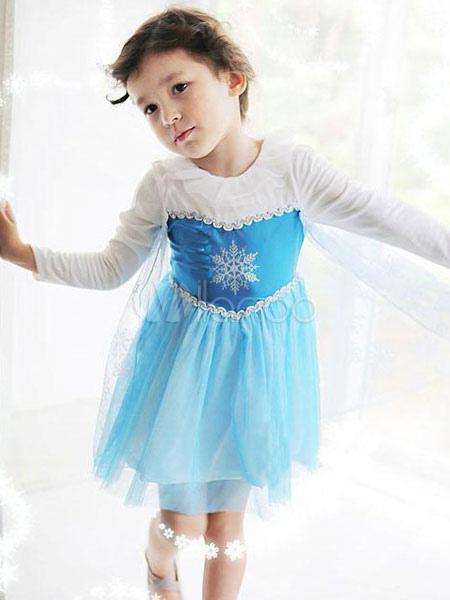 Kids' Halloween Costume Sequined Tulle Long Sleeve Blue Tu Tu Dress Halloween