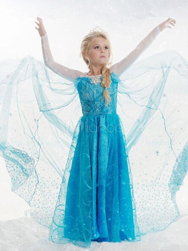 Kid's Halloween Costume Princess Elsa Blue Tulle Dresses For Girls Halloween
