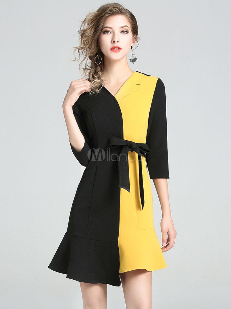 Buy Black Skater Dress V Neck Half Sleeve Two Tone Ruffles Dresses For Women for $44.99 in Milanoo store
