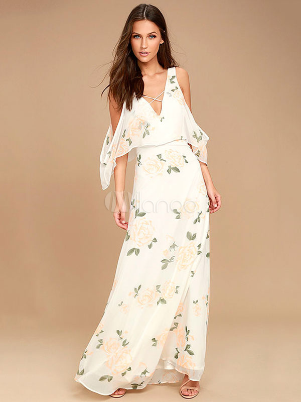 Buy White Long Dress V Neck Cold Shoulder Criss Cross Layered Half Sleeve Floral Print Backless Women's Maxi Dress for $33.24 in Milanoo store