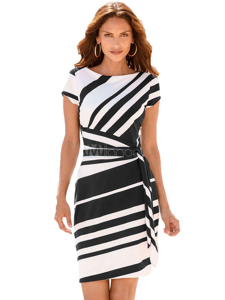 Buy Black Bodycon Dress Round Neck Short Sleeve Striped Midi Dresses For Women for $14.24 in Milanoo store