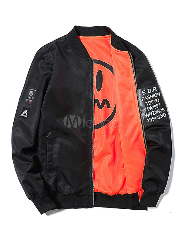 Buy Men's Casual Jacket Black Stand Collar Long Sleeve Letters Print Bomber Jacket for $31.49 in Milanoo store