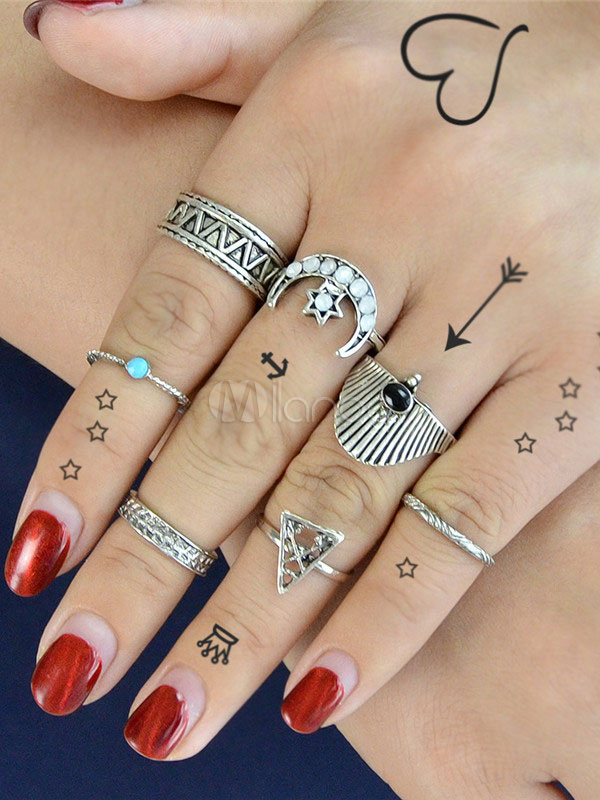 Silver Knuckle Rings Rhinestones Shell Design Women's 7 Pieces Beach Rings Set