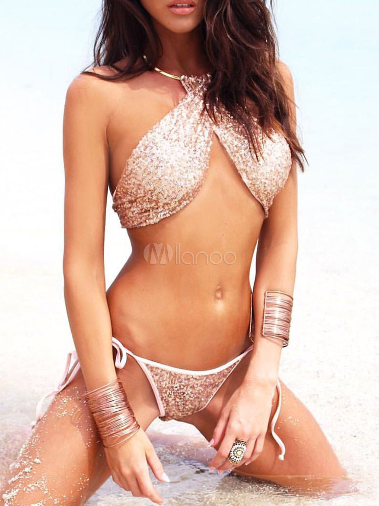 Buy Pink Bikini Swimsuit Round Neck Sleeveless Sequins Two Piece Women's Bathing Suits for $23.74 in Milanoo store