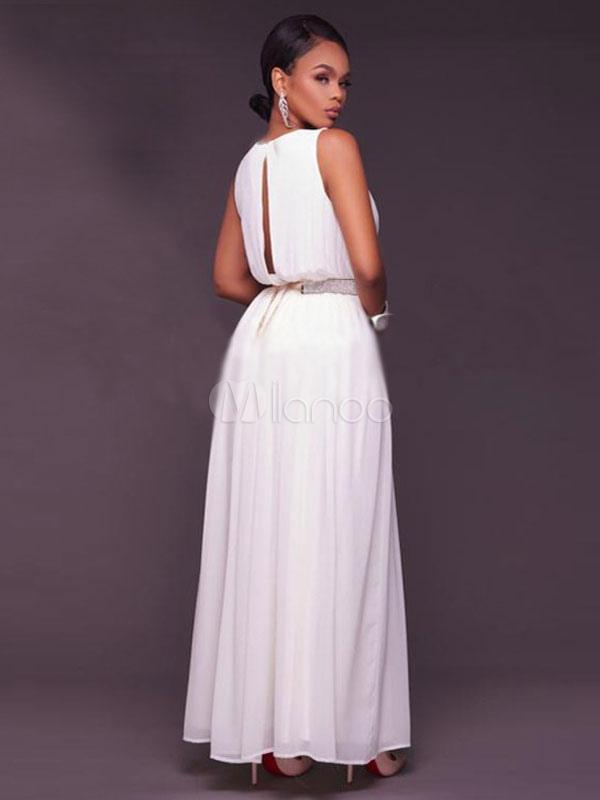 robe longue blanc en chiffon unicolore moulant col v. Black Bedroom Furniture Sets. Home Design Ideas