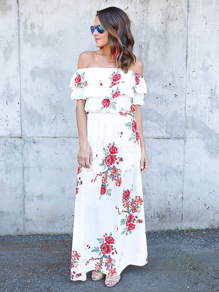 dc0b32c950 Women White Dress Boho Maxi Dress Off The Shoulder Floral Long Dress -No.1  ...