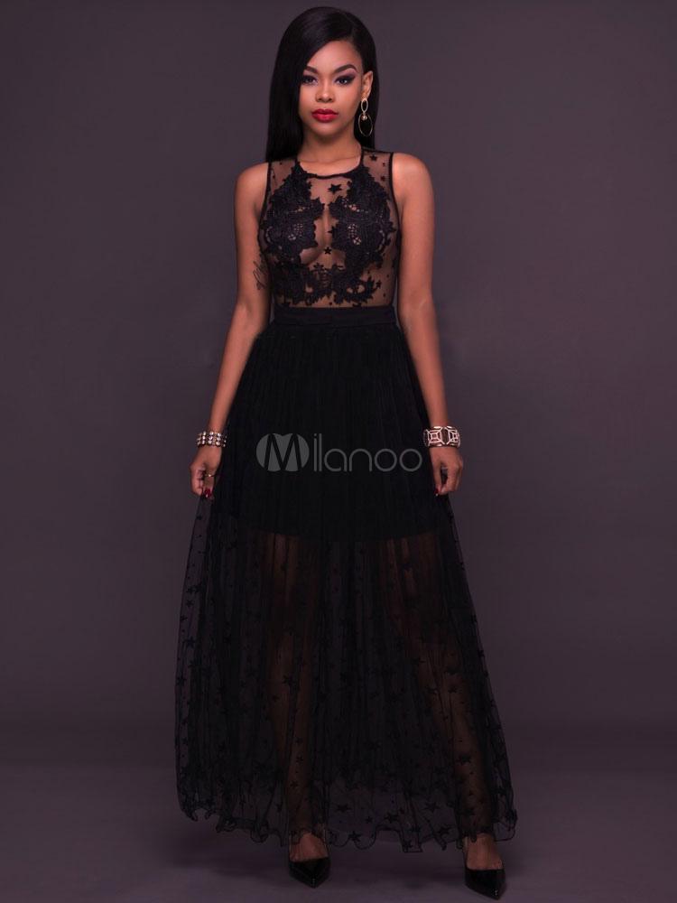 Black Maxi Dress Round Neck Sleeveless Stars Print Semi Sheer Tulle Layered Long Dresses For Women