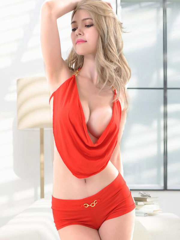 Red Club Set Halter Sleeveless Draped Top With Shorts For Women