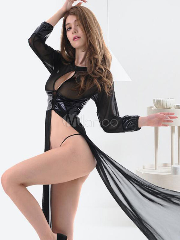 Black Sexy Gown Cut Out Split Long Dress With Panties For Women Cheap clothes, free shipping worldwide
