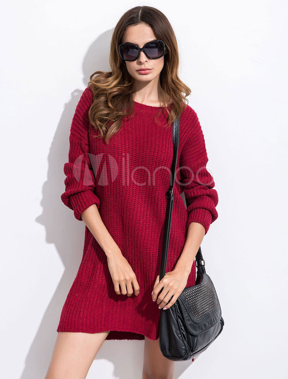 Burgundy Knit Dress Round Neck Long Sleeve High Low Short Sweater Dresses For Women Cheap clothes, free shipping worldwide